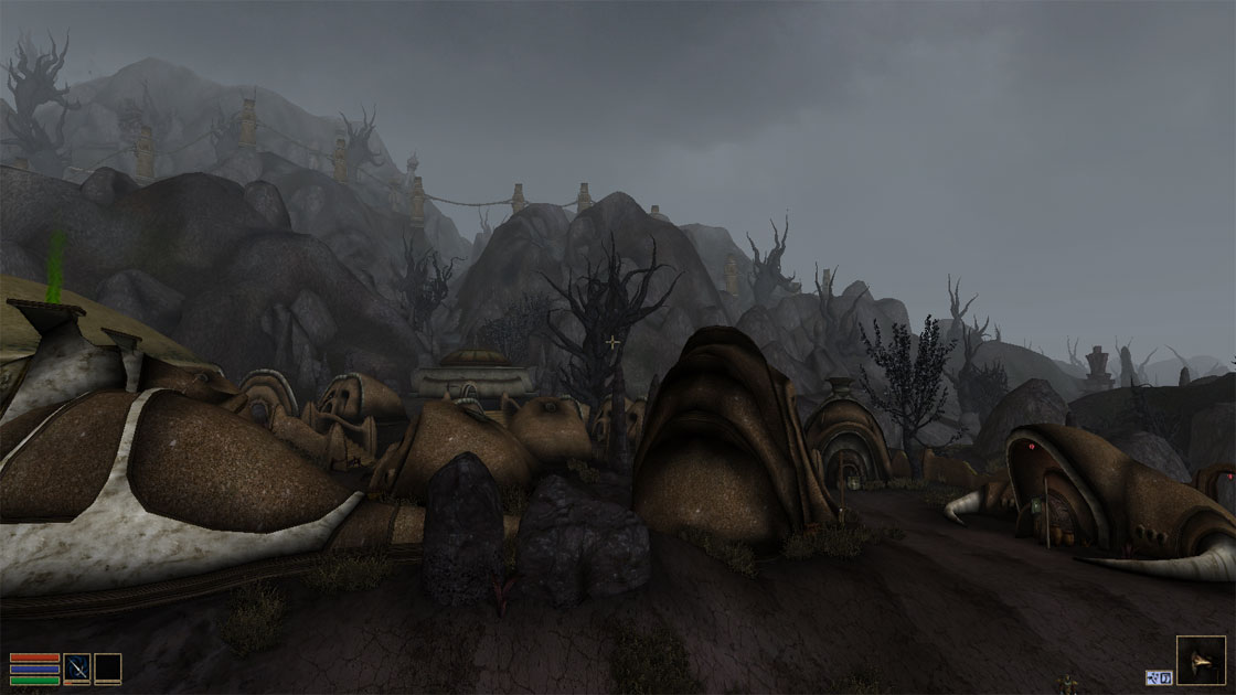Ald'Ruhn, a fascinating town but subject to ash storms.
