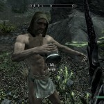 A drunk traveller in only a loincloth